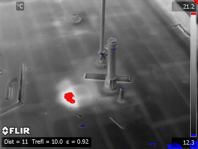 Wet Spot on Roof Infrared Imaging